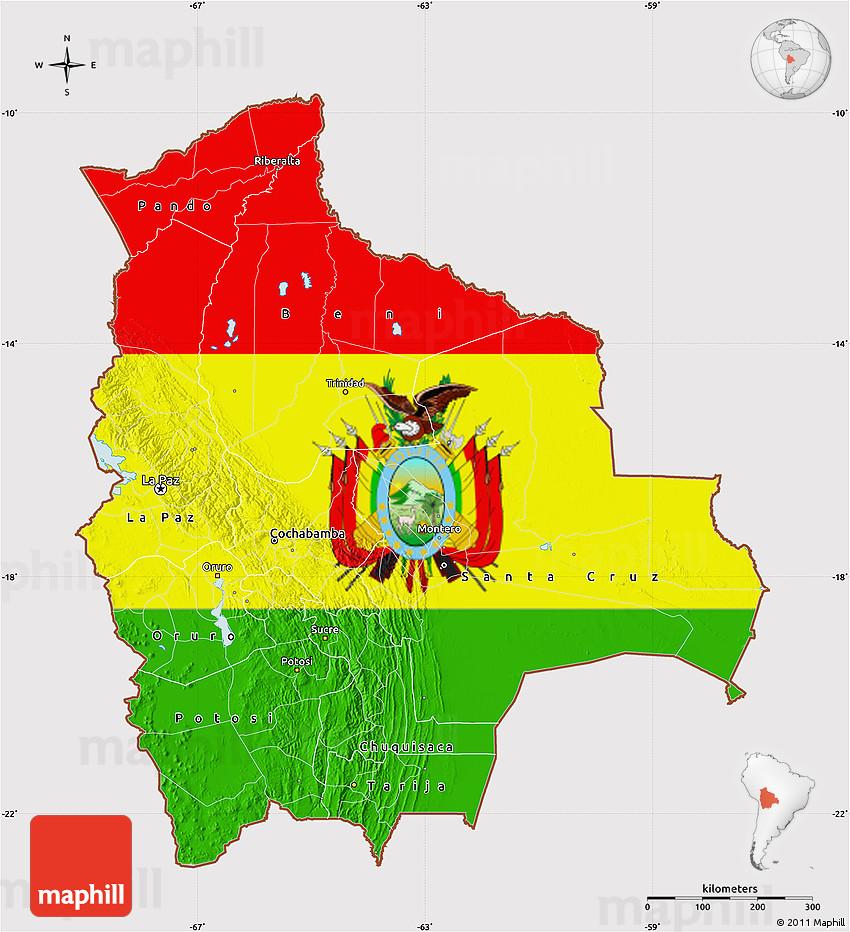 Flag map of Bolivia, flag centered.